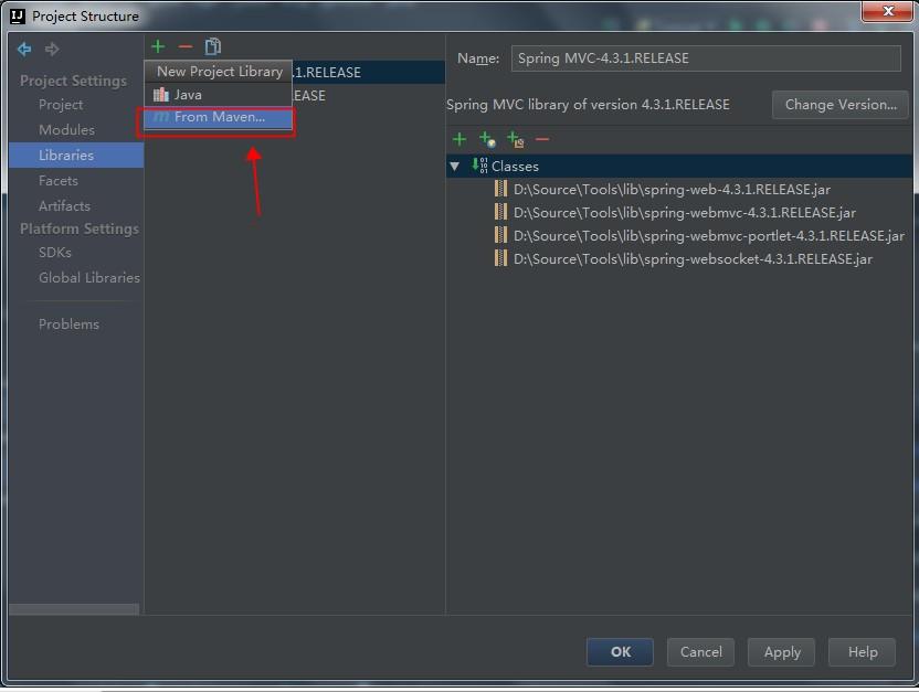 ToolWebSocketProjectStructureAddJarsFromMaven